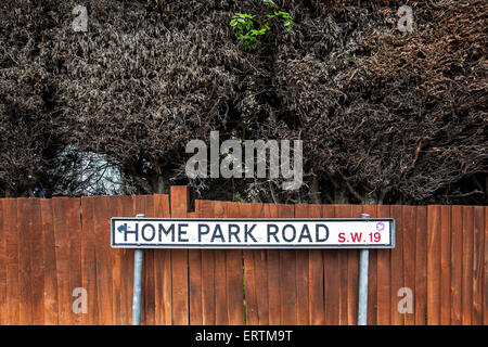 Home Park Road Sign In Wimbledon England