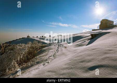 A winter view from Monte grappa first world war memorial, Italy - Stock Photo