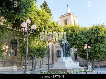 Monument of the Great Siege of 1565 in front of St Johns Cathedral Valletta Malta - Stock Photo