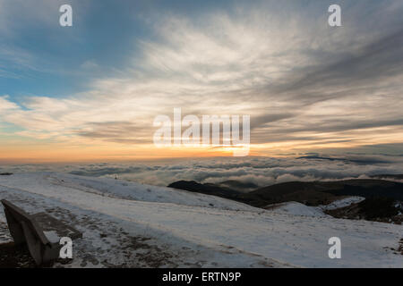 A panorama from Monte Grappa first world war memorial, Italy - Stock Photo