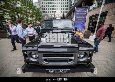London, UK. 8th June, 2015. The 20th annual Motorexpo at Canary Wharf business park. Credit:  Guy Corbishley/Alamy - Stock Photo