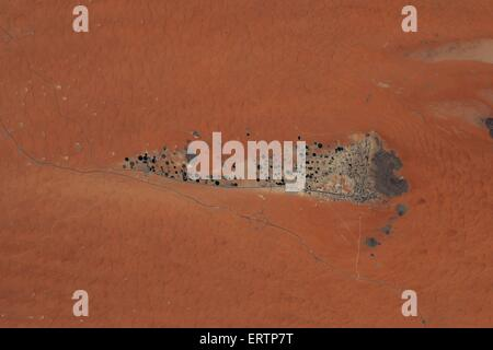 View from the International Space Station of a desert Oasis in Oman. - Stock Photo