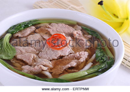 Beef Udon Noodles - Stock Photo