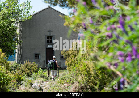 A woman backpacker walks past purple flowers to the Chapel Sant Alessio on the Mare-e-Mare Nord long distance walking - Stock Photo