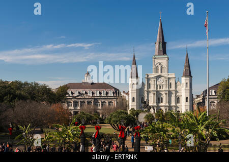 St Louis Cathedral, Jackson Square, New Orleans, Louisiana, USA - Stock Photo