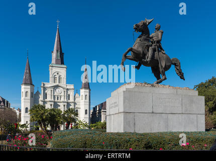 St Louis Cathedral, New Orleans with the statue of Major General Andrew Jackson, Louisiana, USA - Stock Photo
