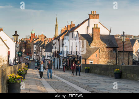 Elvet Bridge over River Wear and Old Elvet in Durham city centre, County Durham, North East England, UK in late - Stock Photo