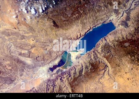 View from the International Space Station of the Dead Sea between Egypt and Israel. - Stock Photo