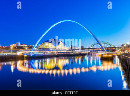 The Gateshead Millennium Bridge over the River Tyne, Gateshead, Tyne and Wear, England, UK - Stock Photo