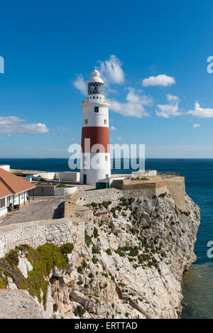 Europa Point Lighthouse at the southern most point of Gibraltar, Europe - Stock Photo