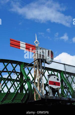 Semaphore signals, Alresford, Mid Hants Railway, Hampshire, England, UK - Stock Photo