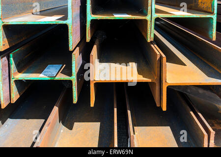 Rusty Steel H Section Girders - Stock Photo