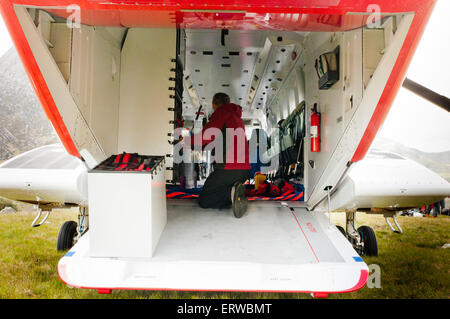 The tail ramp of a Bristow's Sikorsky S92 rescue helicopter can be used to load equipment and people. - Stock Photo