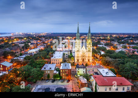 Savannah, Georgia downtown skyline at the Cathedral. - Stock Photo
