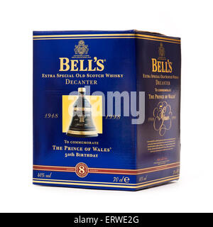 Bell's Extra Special Old Scotch Whisky decanter, released in 1998 to commemorate the 50th birthday of the Prince - Stock Photo