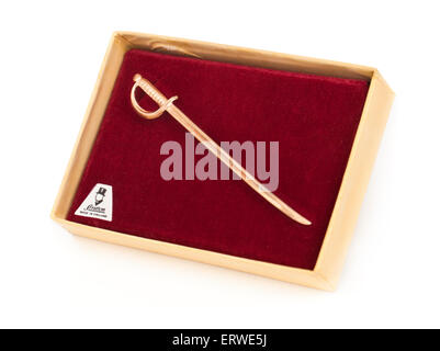 Vintage Stratton gold plated sword-shaped tie pin in the original box - Stock Photo