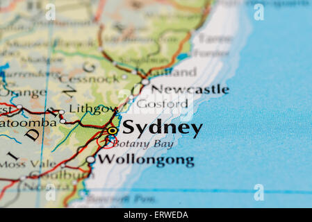 close up of map of sydney on the east coast of australia stock photo