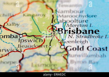 close up of map of brisbane on the east coast of australia stock photo