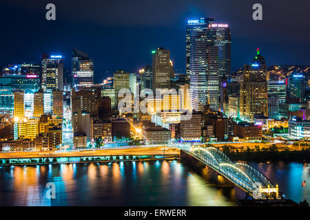 View of Pittsburgh at night from Grandview Avenue in Mount Washington, Pittsburgh, Pennsylvania. - Stock Photo