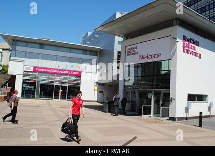 The entrance to Sheffield Hallam University, Howard Street campus, Sheffield, UK looking to the Careers & Employability - Stock Photo
