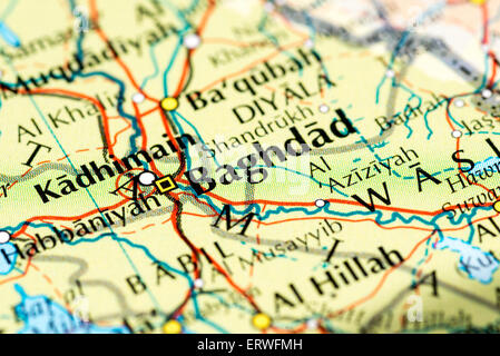 close up of map of baghdad iraq stock photo