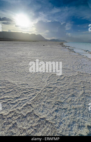 The natural salty rivers of Assal Lake in Djibouti, Africa - Stock Photo