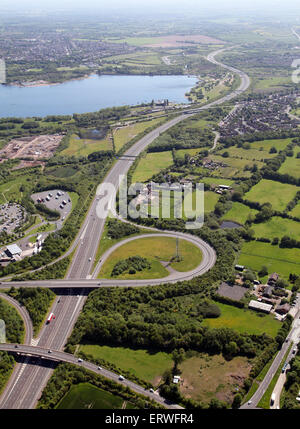 aerial view of the M6 toll motorway at Norton Canes in Staffordshire, UK - Stock Photo