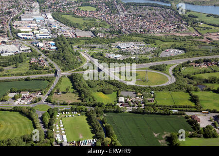 aerial view of the Norton Canes services on the M6 toll road motorway in Staffordshire, UK - Stock Photo