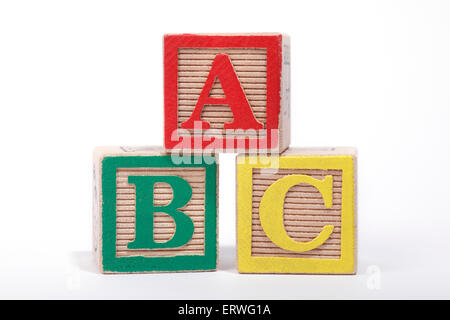 The 'ABC' spelt out with Children's building blocks - Stock Photo