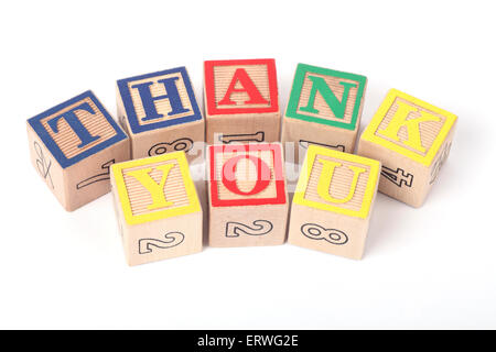 Thank You written with childrens building blocks - Stock Photo