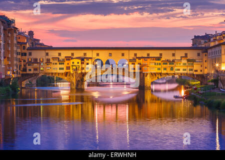 Arno and Ponte Vecchio at sunset, Florence, Italy - Stock Photo