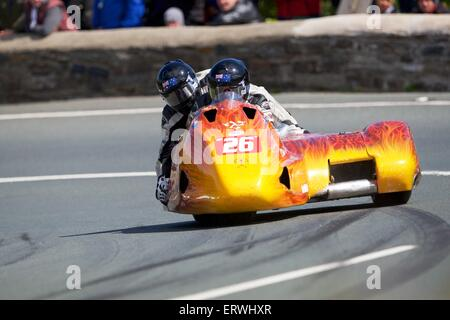 Douglas, Isle of Man. 8th June, 2015. 2015 Isle of Man TT Races. * in action during the TT Sidecar race. Credit: - Stock Photo