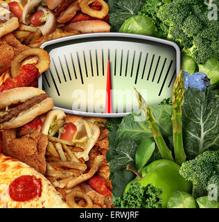 Dieting choice weight scale with unhealthy junk food on one side and healthy fruit and vegetables on the other half - Stock Photo