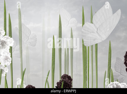 Abstract Floral Background with Butterflies - Stock Photo
