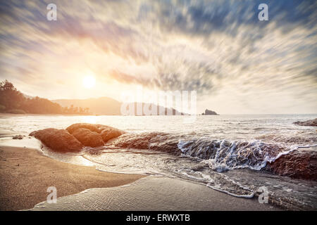 Om beach at sunrise sky in Gokarna, Karnataka, India - Stock Photo