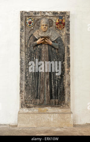 Katharina von Bora, wife of Martin Luther, Epitaph in the Protestant church of St. Mary, Torgau, Saxony, Germany - Stock Photo