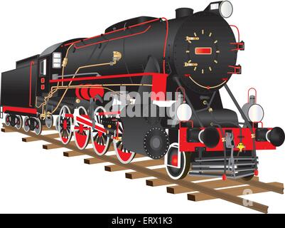 A detailed illustration of a veteran  black and red steam heavy freight locomotive from World War Two isolated on - Stock Photo
