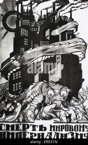 Russia. Communism. Soviet propaganda poster. Death to World Imperialism. - Stock Photo