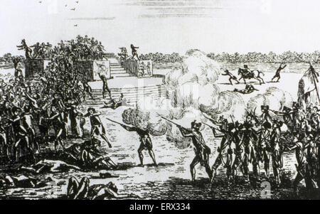 French Revolution (1789-1799). Champ de Mars Massacre (July 17, 1791). Anonymous. Engraving. - Stock Photo