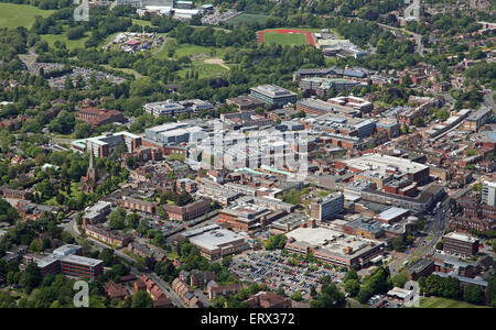 aerial view of the midlands town of Solihull near Birmingham, UK - Stock Photo