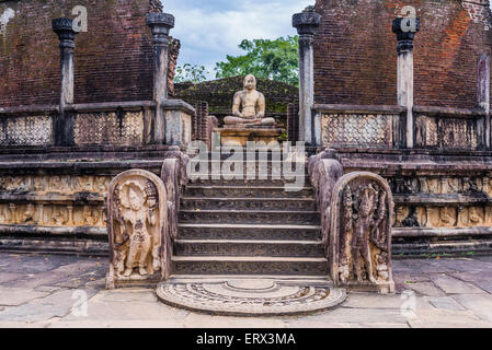 Polonnaruwa Ancient City, Vatadage (Circular Relic House) in Polonnaruwa Quadrangle, UNESCO World Heritage Site, - Stock Photo
