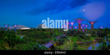 SINGAPORE-JUN 1: Evening view of The Supertree Grove, Cloud Forest & Flower Dome at Gardens by the Bay on Jun 1, 2015