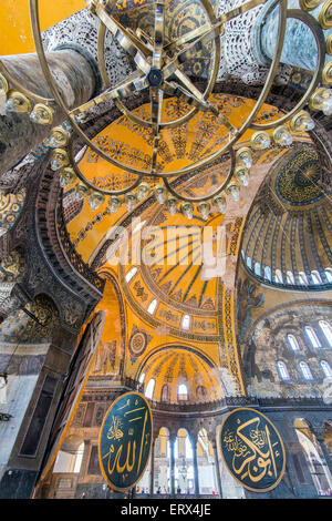 Interior view of Hagia Sophia with Ottoman medallion, Sultanahmet, Istanbul, Turkey - Stock Photo
