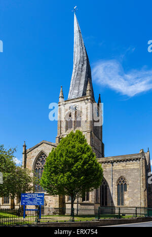 The Church of St Mary and All Saints with its famous Crooked Spire, Chesterfield, Derbyshire, England, UK - Stock Photo