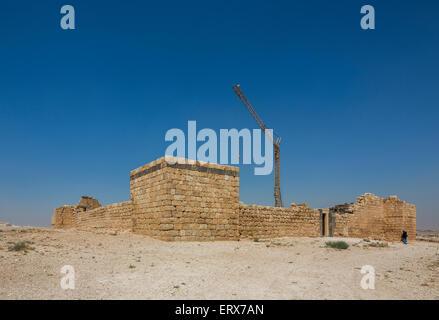 view of Qasr or Qusayr al-Hallabat under repair, Jordan - Stock Photo
