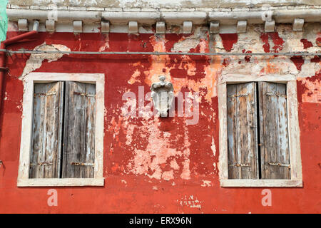Old colorful house, Burano island - Stock Photo