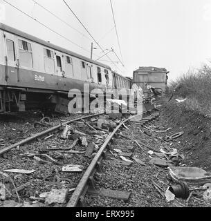 The Hixon rail crash occurred on 6 January 1968 when a low-loader transporter carrying a 150 ton electrical transformer - Stock Photo