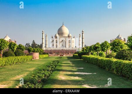Taj Mahal in the evening, Agra, India - Stock Photo
