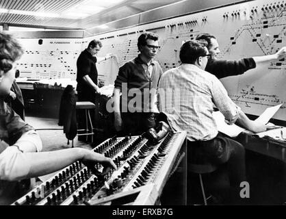 Signal Box, New Street Station, Birmingham, 4th January 1966. Push button signals. Technicians work on the almost - Stock Photo