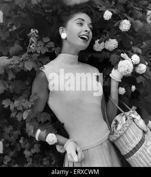 A woman modelling Knitwear. July 1956. - Stock Photo